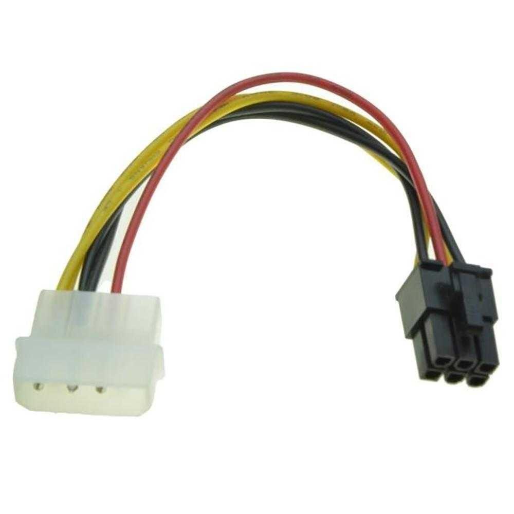 Cable tarjeta de vídeo de 4 pines Molex a 6 pines pci-express PCIE Cable Adaptador convertidor de potencia Cable Molex de 4 a 6 pines PCI-Express PCIE tarjeta de vídeo de Cable Adaptador convertidor